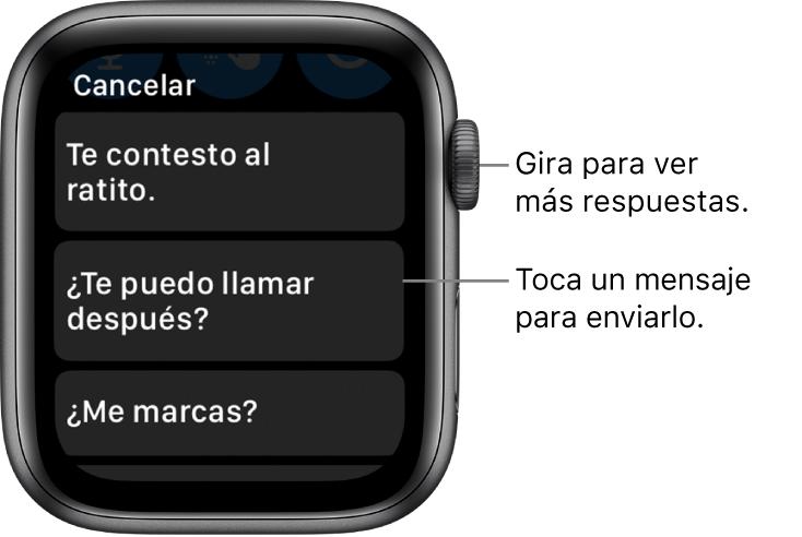 """Pantalla de Mensajes mostrando el botón Cancelar en la parte superior, tres respuestas preestablecidas (""""Te contesto al ratito"""", """"¿Te puedo llamar después?"""" y """"¿Me marcas?"""")."""
