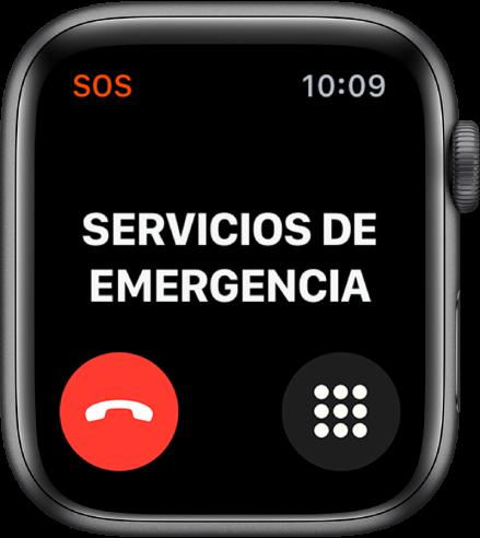 """Pantalla """"Servicios de emergencia"""" que muestra el texto Conectando en la parte superior. El botón """"Finalizar llamada"""" está en la esquina inferior izquierda y el botón """"Teclado numérico"""" está en la esquina inferior derecha."""