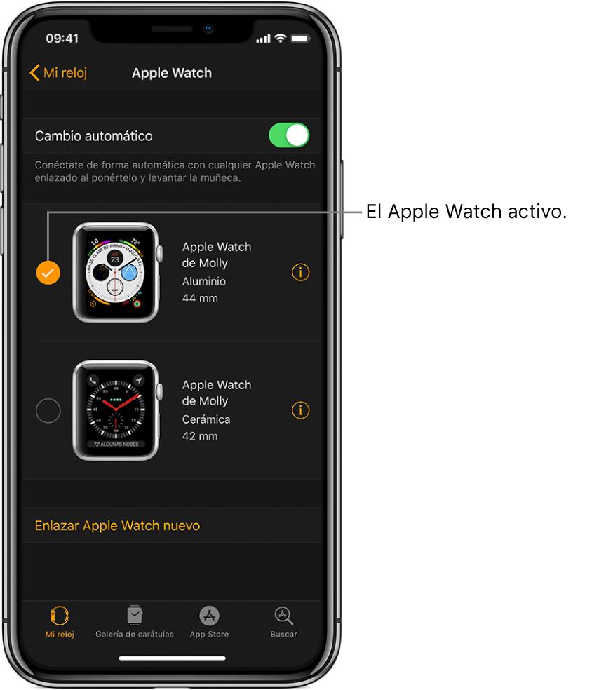La marca de verificación muestra el AppleWatch activo.