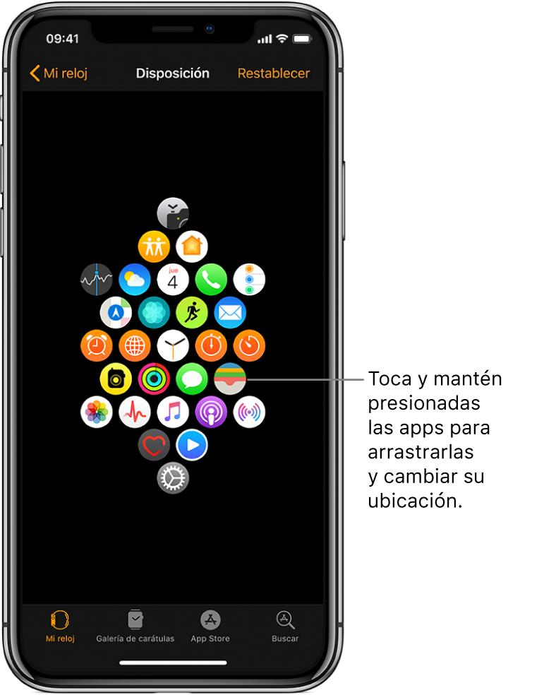 """La pantalla con la disposición en la app Apple Watch, mostrando una cuadrícula de íconos. Un texto señala el ícono de una app y dice """"Toca y arrastra las apps para cambiar su ubicación""""."""