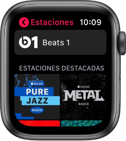 Pantalla de Radio con la estación Beats1 en la parte superior y dos estaciones destacadas debajo.
