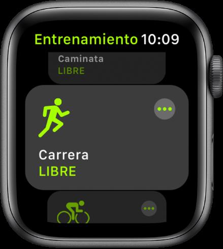 La pantalla Entrenamiento con la opción Carrera resaltada.