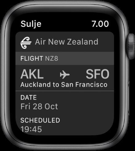 Apple Watch, jossa näkyy tarkastuskortti.