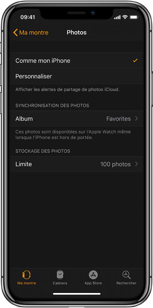 Réglages Photos dans l'app AppleWatch sur l'iPhone, avec le réglage Album synchronisé au milieu et le réglage Limite de photos en dessous.