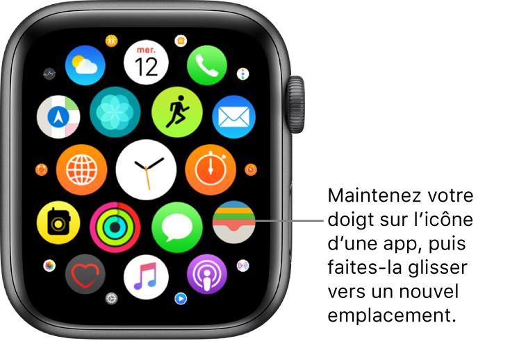 Écran d'accueil en présentation en grille sur l'AppleWatch. La légende indique «Maintenez votre doigt sur l'icône d'une app, puis faites-la glisser vers un nouvel emplacement».
