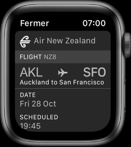 L'AppleWatch affichant une carte d'embarquement.