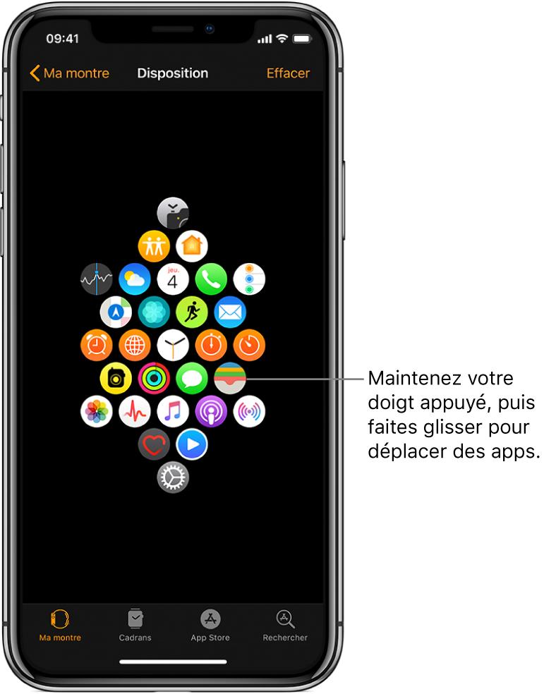 L'écran Disposition de l'app AppleWatch présentant une grille d'icônes. Une légende pointe vers l'icône d'une app et dit: «Touchez et faites glisser pour déplacer des apps».
