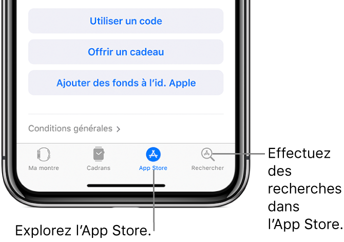 Bas de l'écran de l'AppleWatch sur l'iPhone, affichant quatre onglets: l'onglet de gauche est Ma montre, où vous pouvez ajuster les réglages de l'AppleWatch, en regard se trouve la galerie de cadrans où vous pouvez découvrir les cadrans et complications disponibles, et l'AppStore, où vous pouvez télécharger des apps pour l'AppleWatch. Le dernier onglet s'appelle Recherche et sert à trouver dans apps dans l'AppStore.