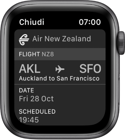Apple Watch che visualizza una carta di imbarco.