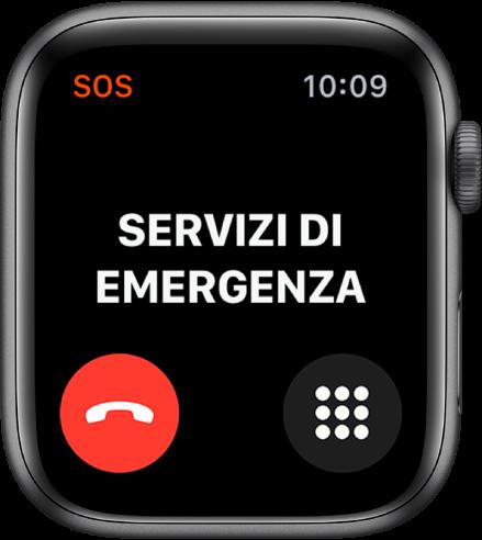 """La schermata """"Servizi di emergenza"""" con la parola Connetto nella parte superiore. In basso a sinistra è presente un pulsante per disconnettere la chiamata e in basso a destra è presente il pulsante del tastierino."""