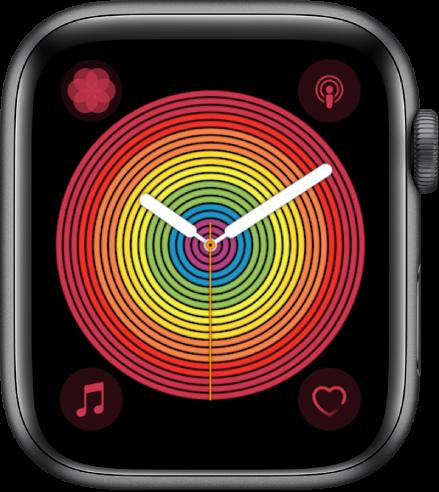 「プライドアナログ」の文字盤。円形スタイルを使用しています。4つのコンプリケーションが表示されています。左上に呼吸、右上にPodcast、左下にミュージック、右下に心拍数があります。