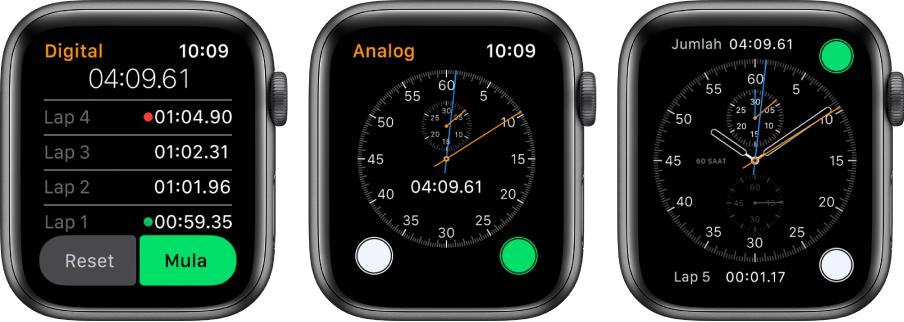 Tiga muka jam menunjukkan tiga jenis jam randik: Jam randik digital dalam app Jam Randik, jam randik analog dalam app tersebut dan kawalan jam randik tersedia daripada muka jam Kronograf.