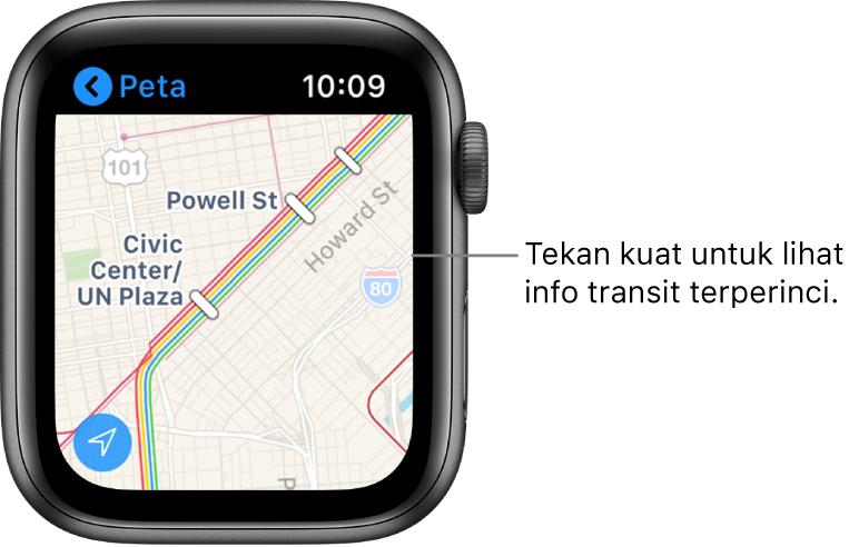 App Peta menunjukkan butiran transit, termasuk laluan dan nama hentian.