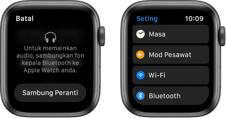 Jika anda menukar sumber audio kepada AppleWatch anda sebelum anda pasangkan speaker atau fon kepala Bluetooth, butang Sambung muncul di bahagian tengah skrin yang membawa anda ke seting Bluetooth pada AppleWatch anda, di mana anda boleh menambah peranti pendengaran.