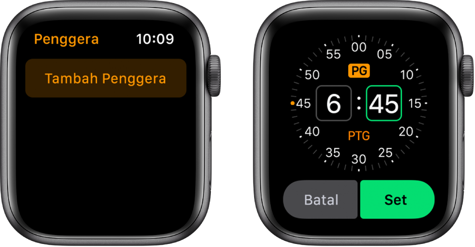 Dua skrin jam menunjukkan proses untuk menambah penggera: Ketik Tambah Penggera, ketik PG atau PTG, putar Digital Crown untuk laraskan masa, kemudian ketik Set.