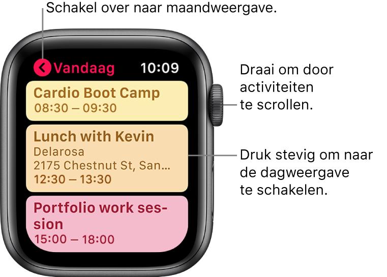 Agenda-scherm met een lijst van activiteiten voor deze dag.