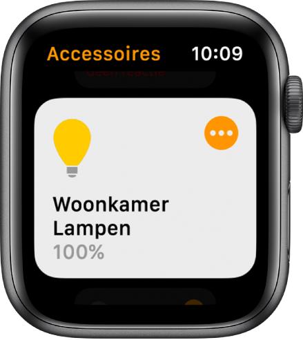 Woning-app met een accessoire voor verlichting. Tik op het symbool in de rechterbovenhoek van de accessoire om de instellingen aan te passen.