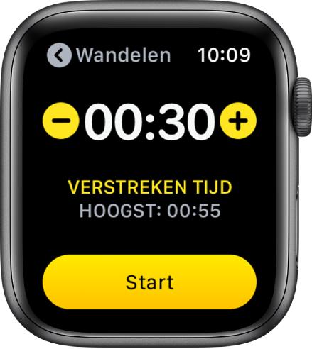 Het scherm voor het instellen van een doel, met bijna bovenin de tijd en aan weerskanten de knoppen– en+, en onderin de knop 'Start'.