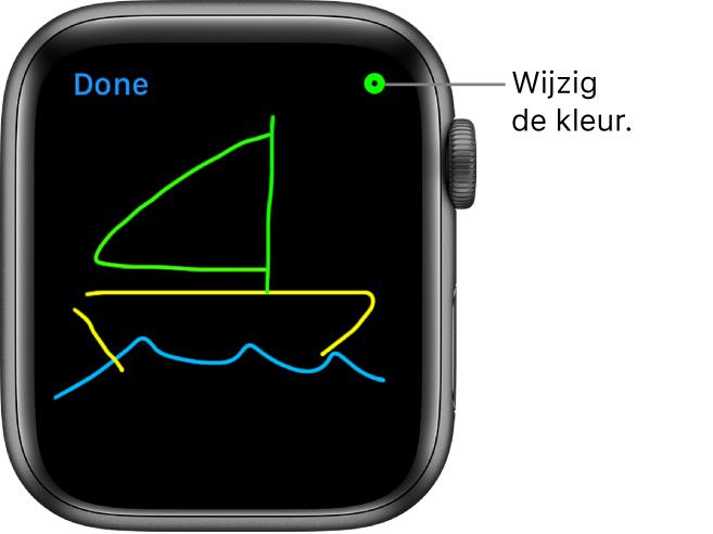 Het tekengebied met een tekening in het midden en de kleurenkiezer rechtsbovenin.
