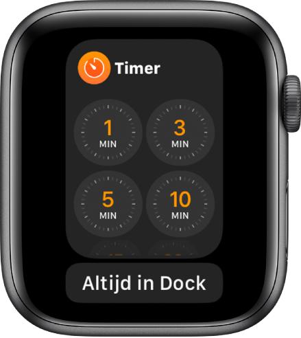 Het scherm van de Timer-app in het Dock, met daaronder de knop 'Altijd in Dock'.