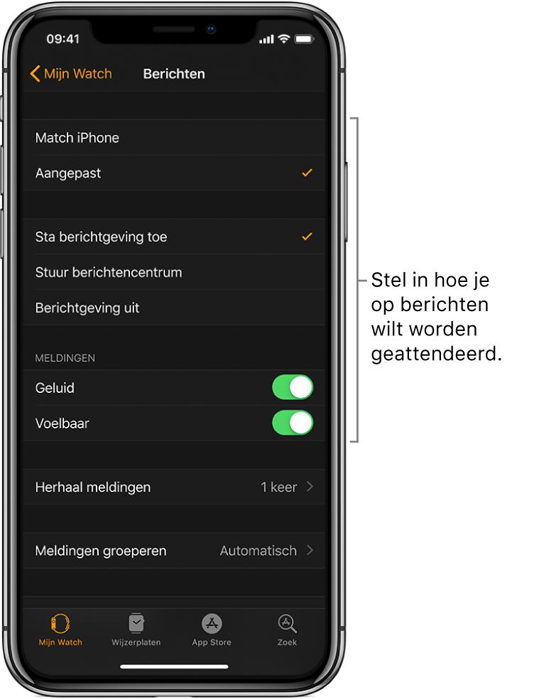 Instellingen voor berichten in de AppleWatch-app op de iPhone. Je kunt instellen of meldingen moeten worden getoond, een geluidssignaal of voelbaar signaal inschakelen en meldingen herhalen.