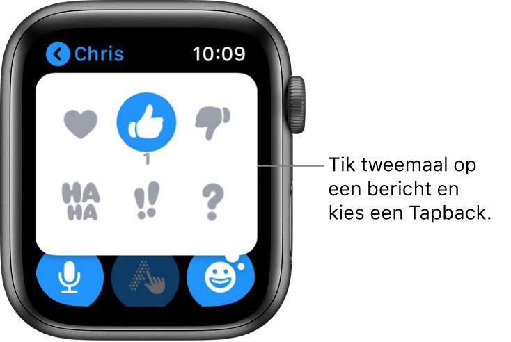 Een gesprek in Berichten met Tapback-opties: hartje, duim omhoog, duim omlaag, Ha Ha, !! en ?.
