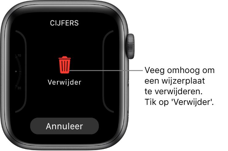 Het AppleWatch-scherm met de knoppen 'Verwijder' en 'Annuleer', die verschijnen nadat je naar een wijzerplaat hebt geveegd en de wijzerplaat omhoog hebt geveegd om de wijzerplaat te verwijderen.