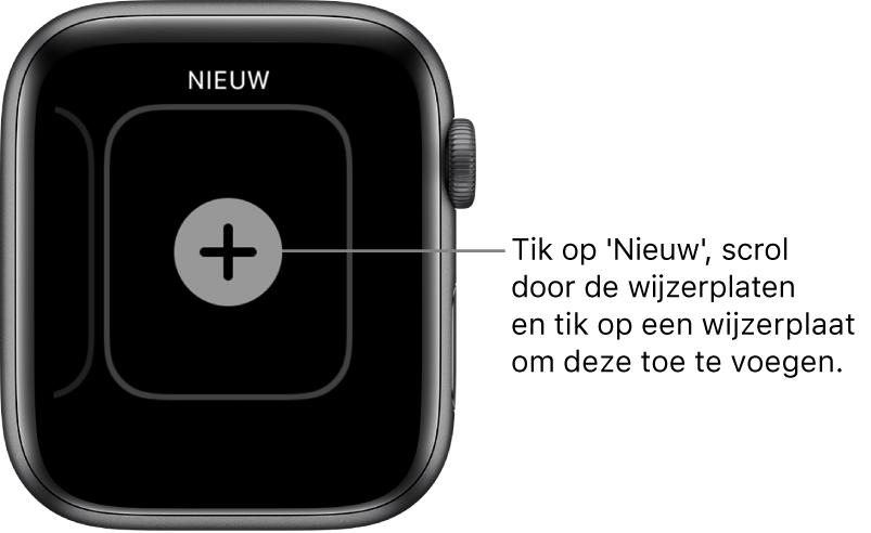 Scherm voor een nieuwe wijzerplaat, met de knop met het plusteken in het midden. Tik op deze knop om een nieuwe wijzerplaat toe te voegen.