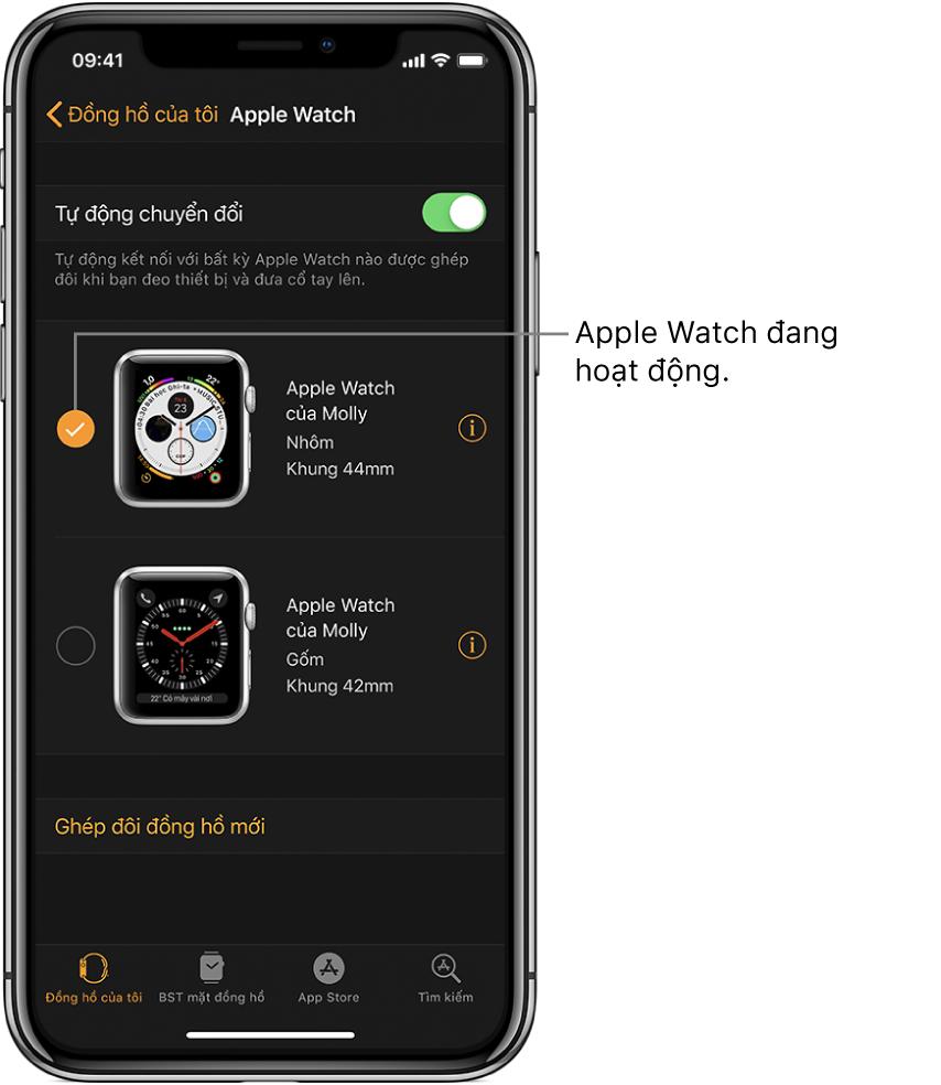 Dấu chọn cho biết Apple Watch đang hoạt động.