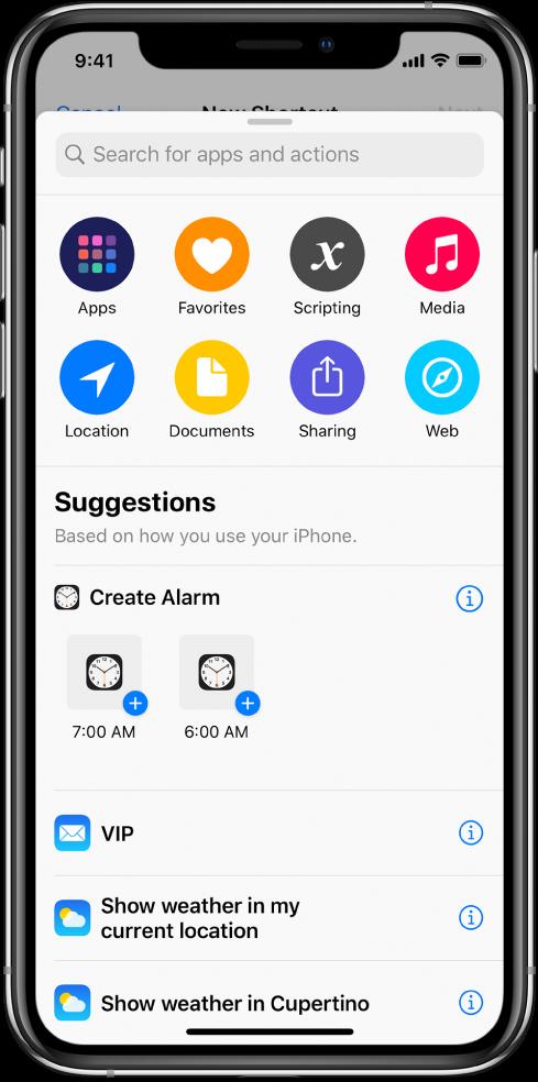 Accions suggerides per Siri.