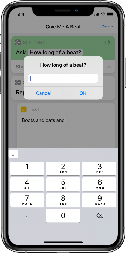 Dialogue asking the user for numerical input opens a numeric keypad instead of a text keyboard.