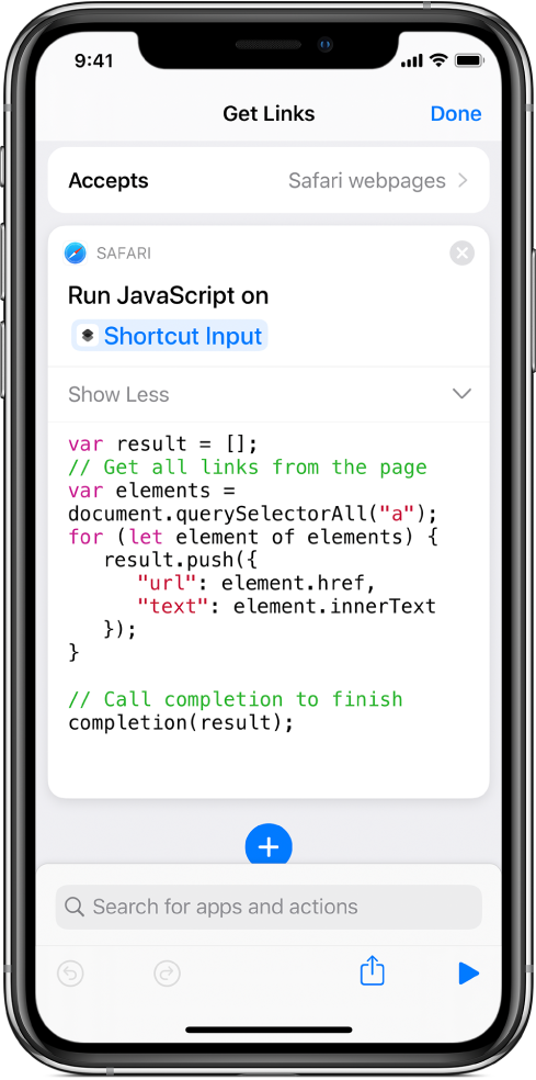 The Run JavaScript on Web Page action in the shortcut editor.