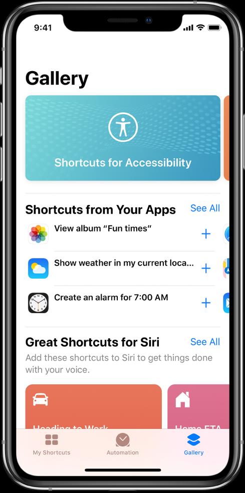 Shortcuts Gallery.