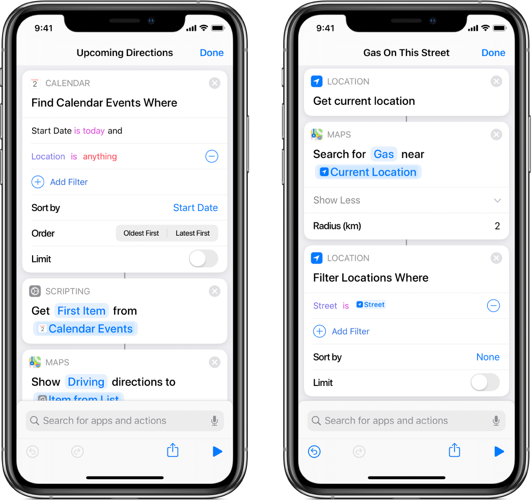 Find Calendar Events Where action and Filter Images Where action in shortcut editor.