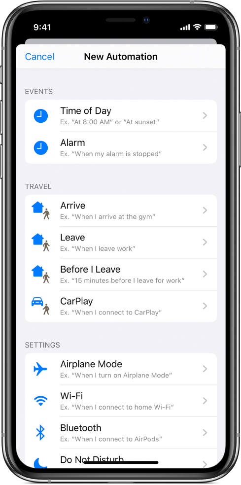 Personal automation triggers in the Shortcuts app.