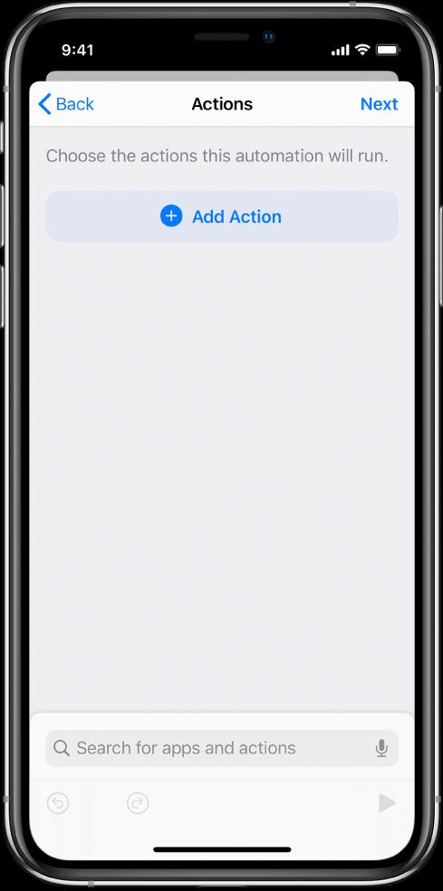 「ショートカット」Appのオートメーションエディタに表示された空のオートメーション。