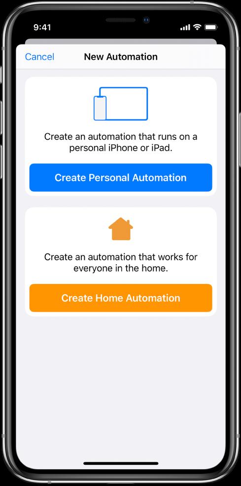 단축어 앱에 이미 자동화가 존재할 때 새로운 자동화.
