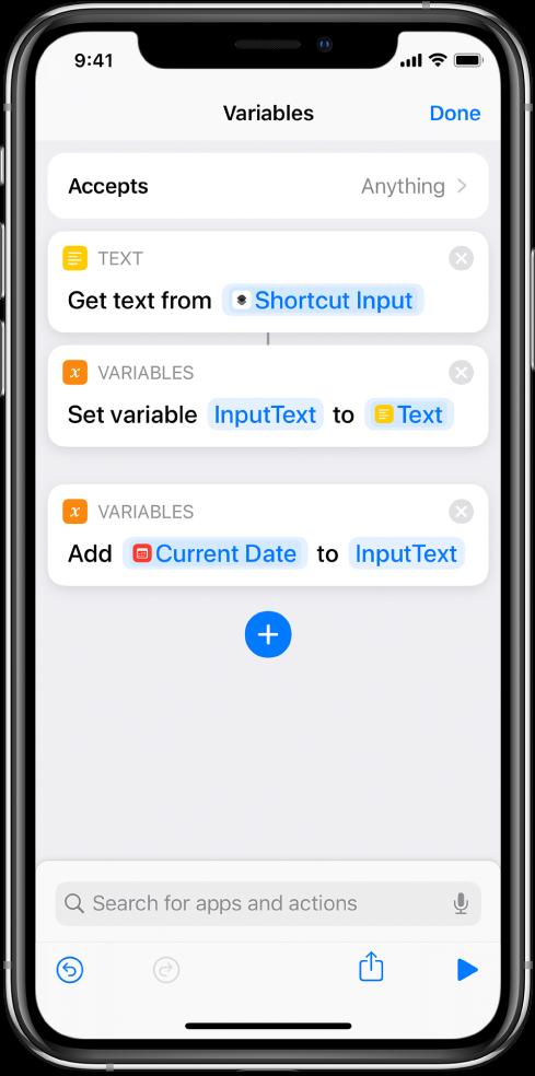 단축어 편집기의 변수 설정 및 변수에 추가 동작.