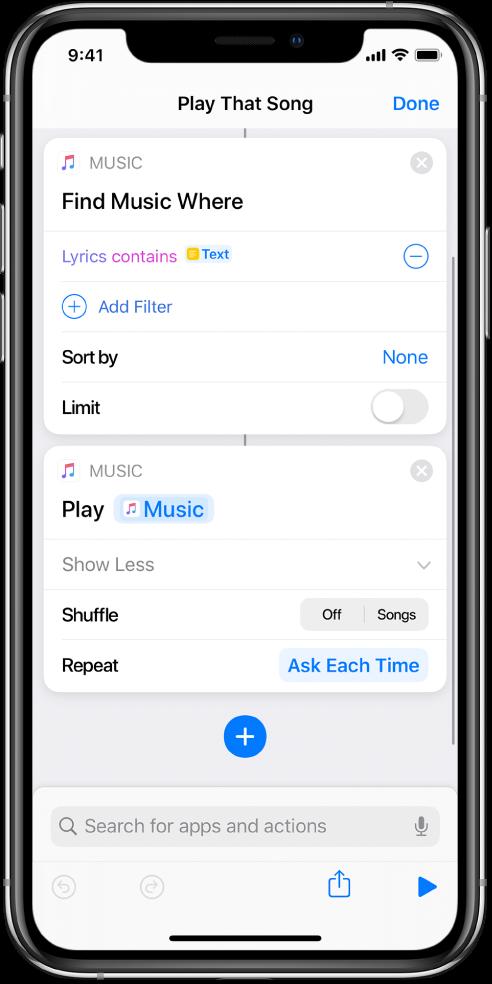 '매번 묻기' 변수는 단축어 편집기의 '음악 재생' 동작에서 반복 매개변수를 대치합니다.