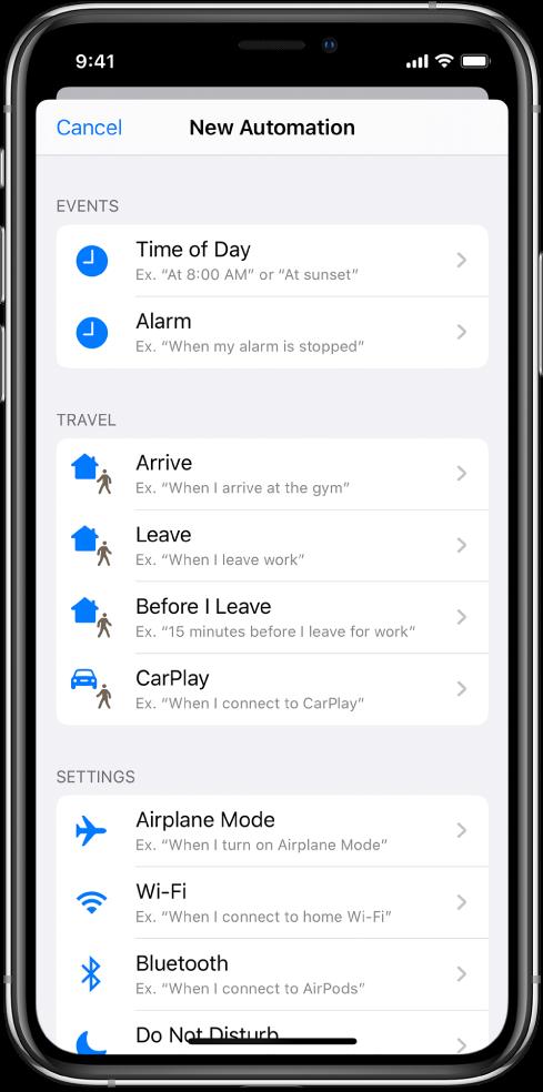 Triggers voor persoonlijke automatisering in de Opdrachten-app.