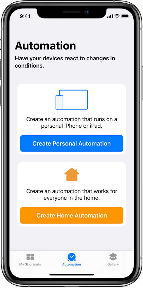 Het gedeelte 'Automatisering' van de Opdrachten-app.