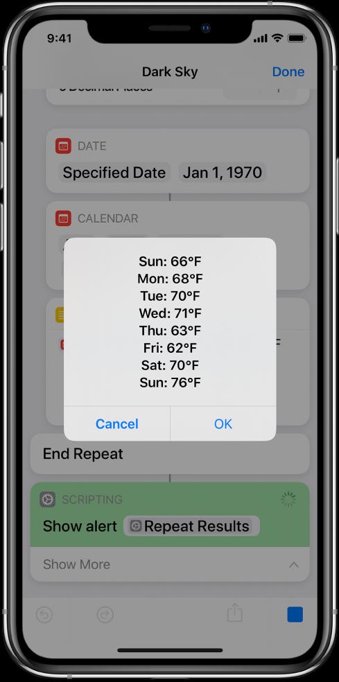 Varselet som viser gjennomsnittstemperaturene for uken i snarveisredigereren.