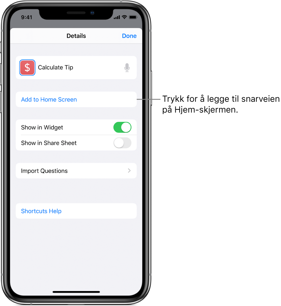 Detaljer-skjermen i Snarveier-appen som viser Legg til på Hjem-skjerm.