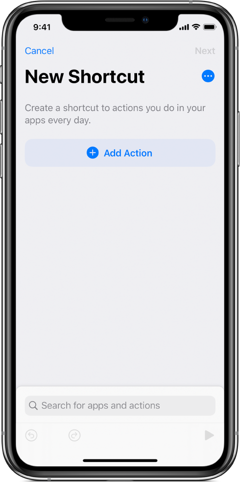 Prázdny editor skratiek na iPhone.