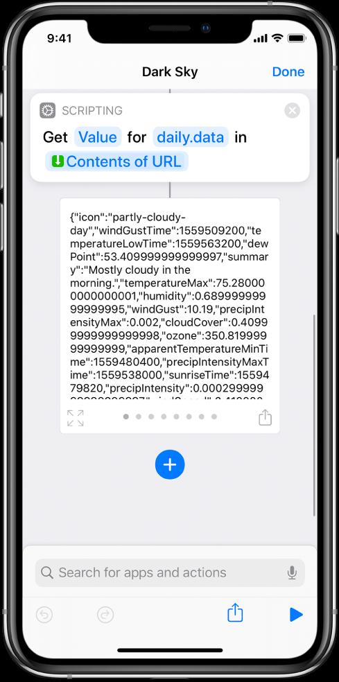 """Akcia Získať hodnotu zo slovníka veditore skratiek skľúčom nastaveným na možnosť """"data""""."""
