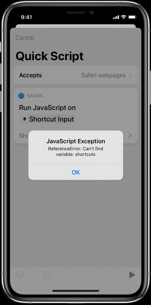 JavaScript İstisna hata mesajının gösterildiği kestirme düzenleyicisi.