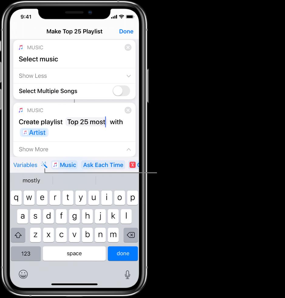 Ekran klavyesinin üstünde Değişkenler ve Sihirli Değişkenler düğmelerini gösteren En Çok Dinlenen 25 Parçadan Liste Oluştur kestirme ekranı.