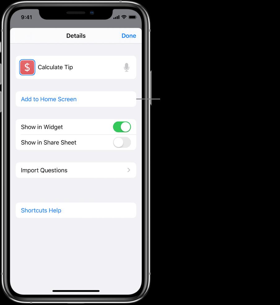 「捷徑」App 中的「詳細資訊」畫面顯示「加入主畫面」。