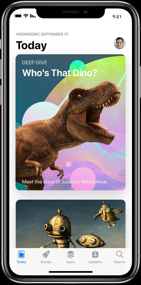 شاشة Today في AppStore تعرض أحد التطبيقات المميزة. تظهر صورتك الشخصية، والتي يمكنك الضغط عليها لعرض المشتريات، في أعلى اليمين. على طول الجزء السفلي، من اليسار إلى اليمين، علامات التبويب Today، وGames، وApps، وUpdates، وSearch.