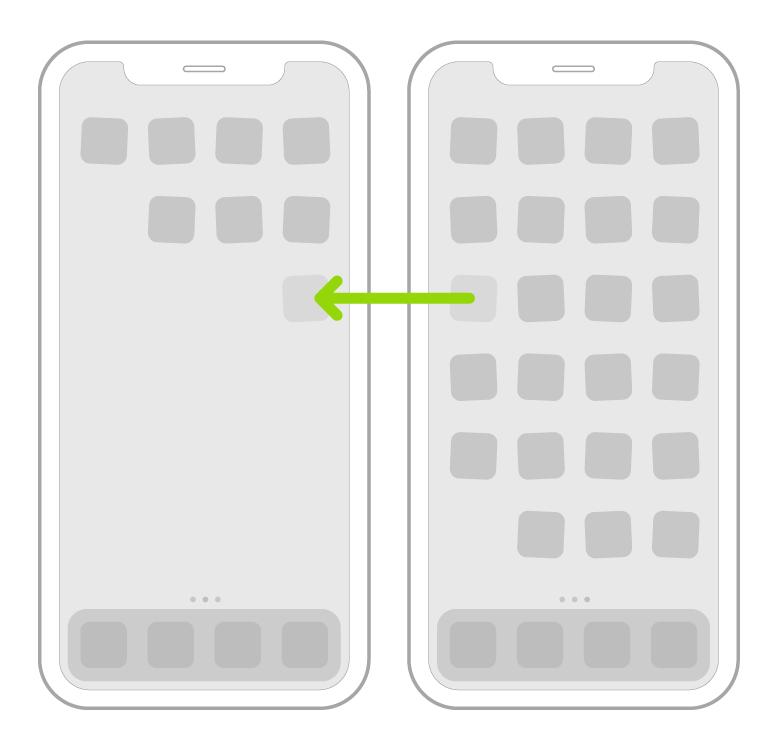 أيقونات تهتز على الشاشة الرئيسية مع سهم يُظهر أيقونة تطبيق واحدة يتم سحبها إلى الصفحة التالية.